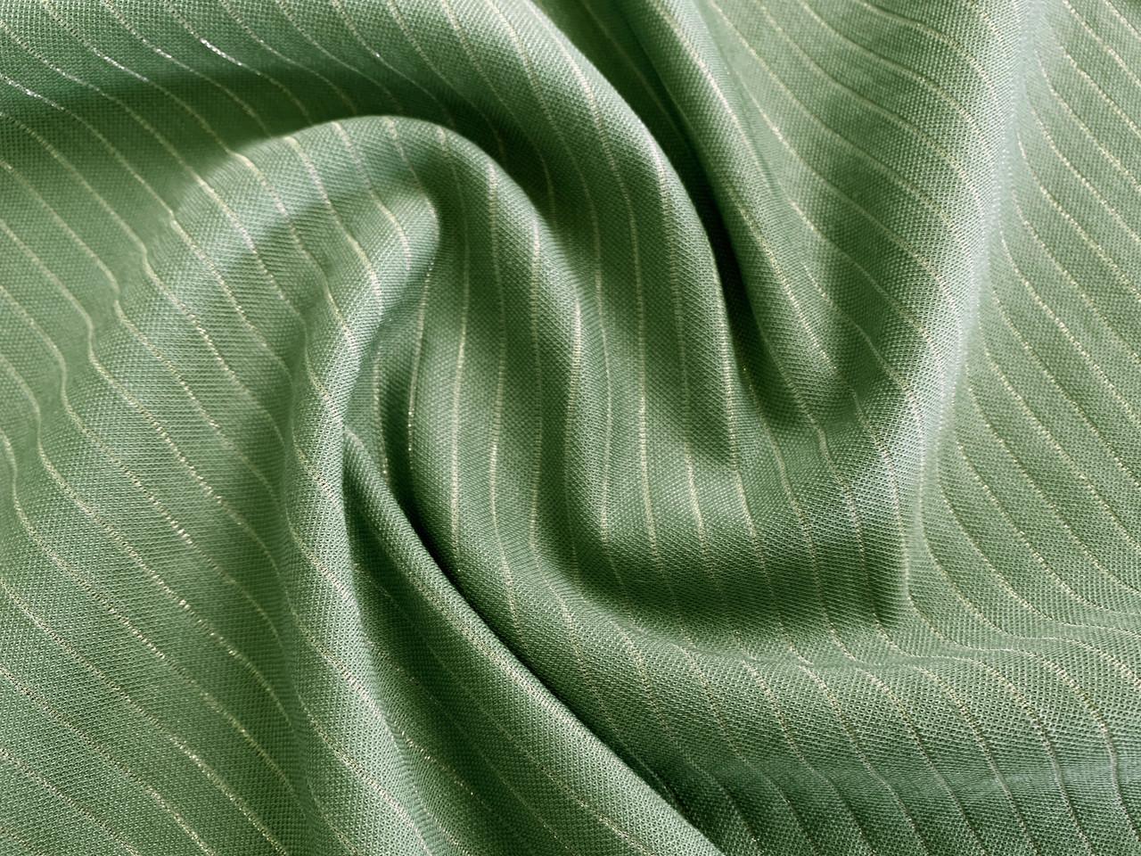 Ткань Вискозный трикотаж с нейлоном полоска с люрексом 6 мм, оливковый