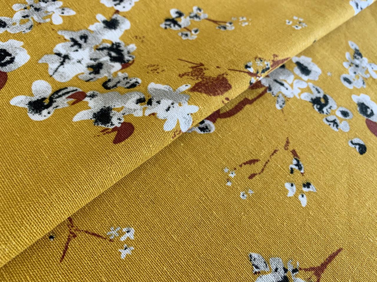 Ткань Лен с вискозой весенний сад, горчица