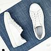 Детские кожаные мокасины на шнуровке, цвет белый, фото 2