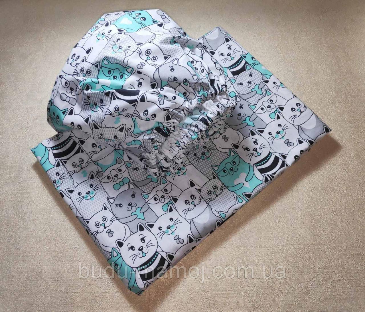 Простынь на резинке и пододеяльник хорошего качества в кроватку Котики