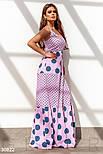 Длинное коттоновое платье в пол в горошек пудровое, фото 2
