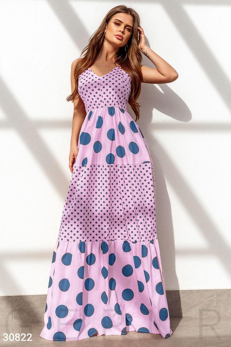 Длинное коттоновое платье в пол в горошек пудровое