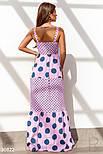 Длинное коттоновое платье в пол в горошек пудровое, фото 3