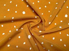 Ткань Французская вискоза софт неравномерные горошки, горчица