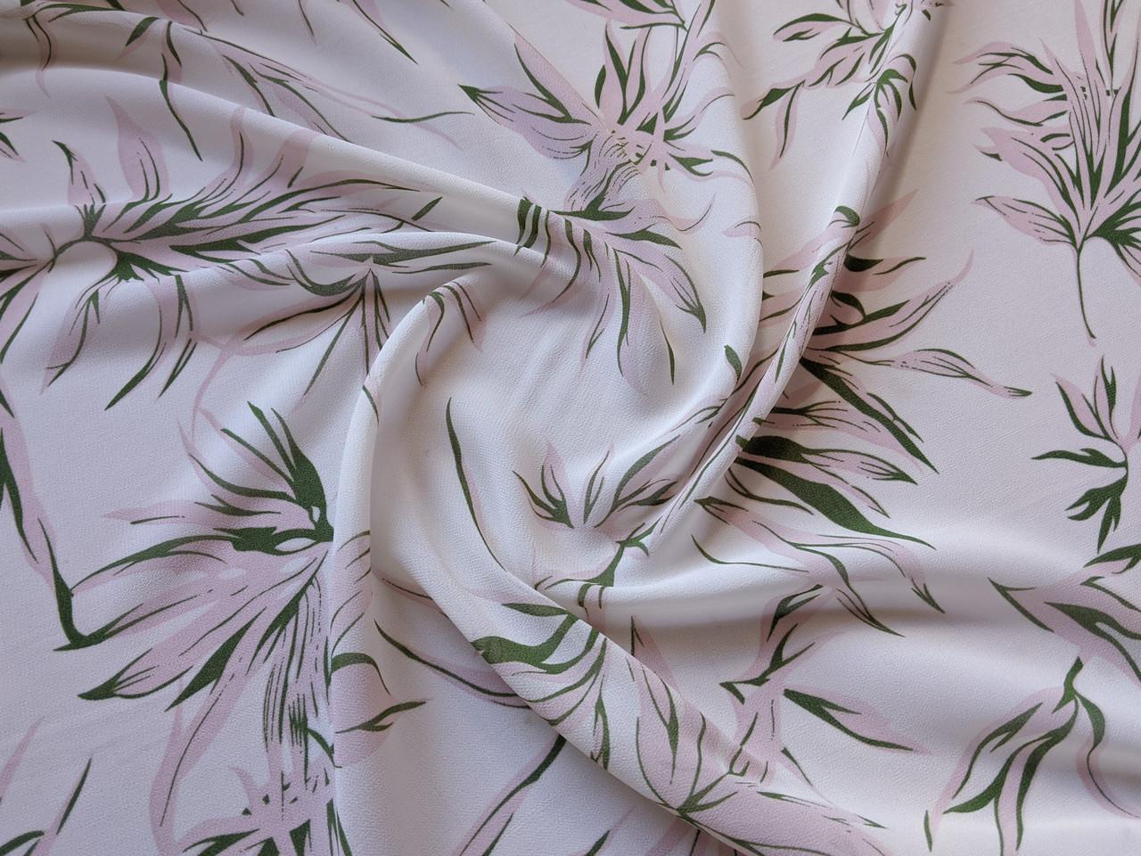 Ткань Шифон креповый пальмовые листья, молочный