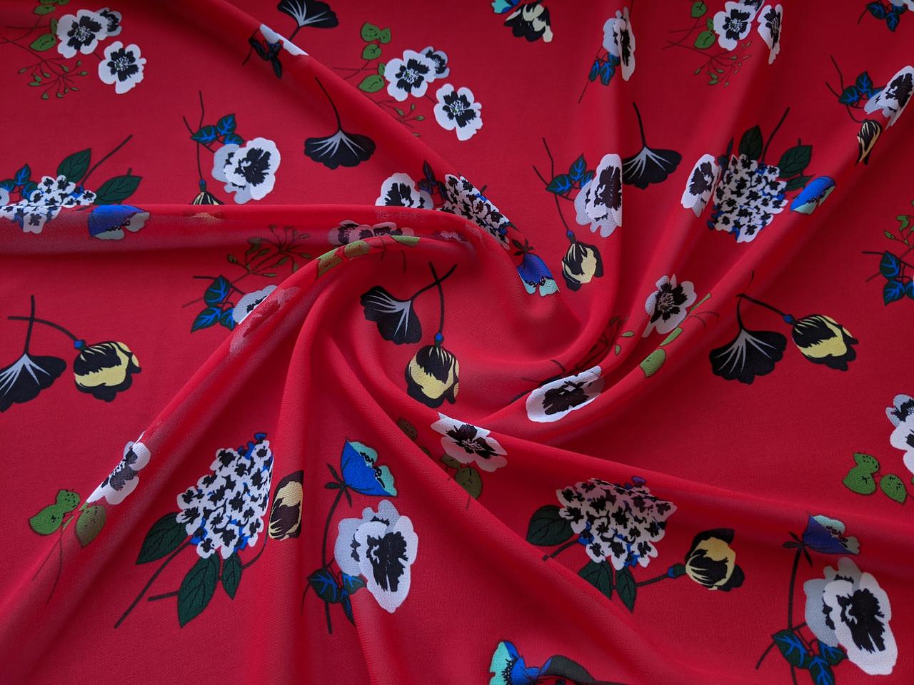 Ткань Шифон креповый цветочная фантазия, красный