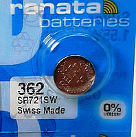 Батарейка для часов. Renata SR721SW (362) 1.55v 24mAh 7,9x2.1mm.Серебрянно-цинковая