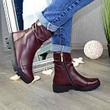Ботинки женские кожаные демисезонные бордовые на тракторной подошве, фото 2