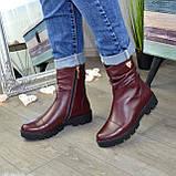 Ботинки женские кожаные демисезонные бордовые на тракторной подошве, фото 3