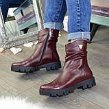 Ботинки женские кожаные демисезонные бордовые на тракторной подошве, фото 4