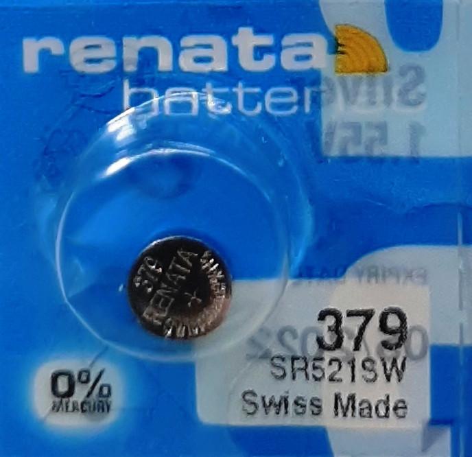 Батарейка для часов. Renata SR521SW (379) 1.55v 16mAh 5.8x2.15mm. Серебрянно-цинковая