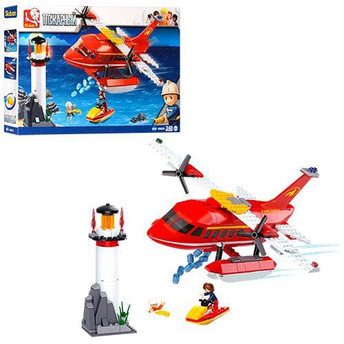 Конструктор SLUBAN M38-B0629  пожарный,маяк,вертолет,скутер,фигурка,348дет,кор,43-29-7см