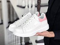 Женские кроссовки Alexander McQueen, белые с розовым