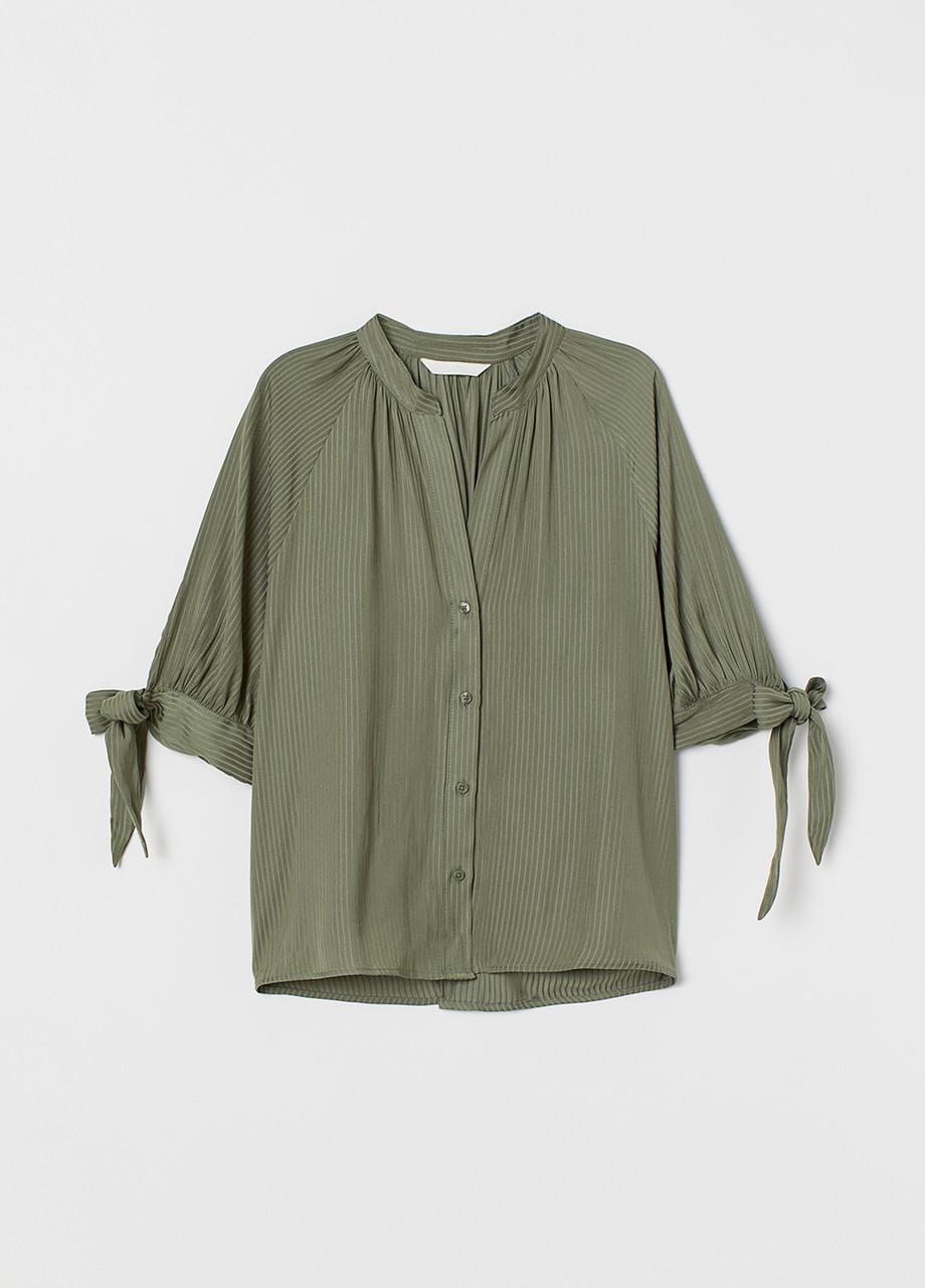 Оливковая (хаки) однотонная блузка H&M летняя