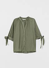 Оливкова (хакі) однотонна блуза H&M річна