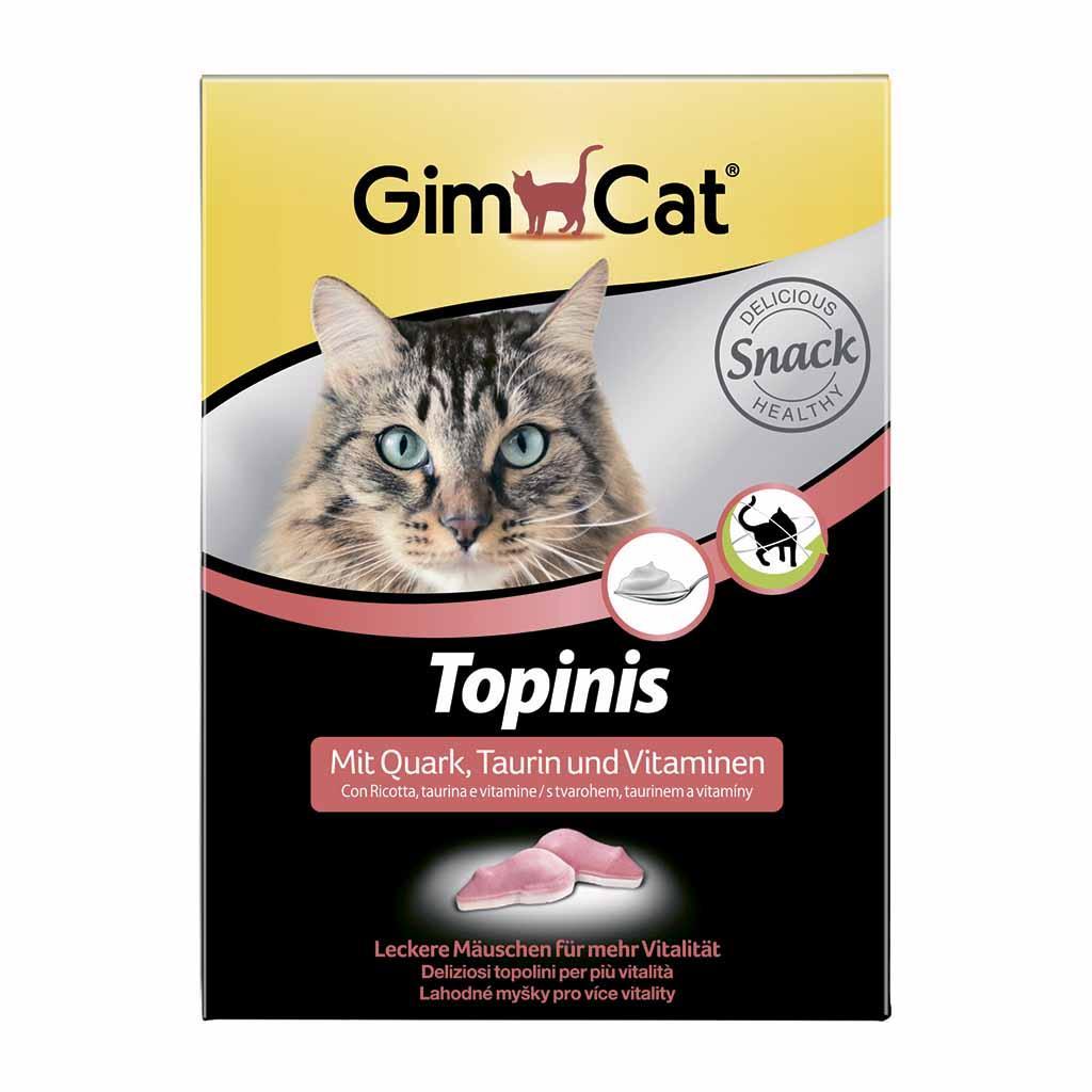 Витаминизированное лакомство GimCat для кошек в виде мышек (творог) 180 табл./220 г