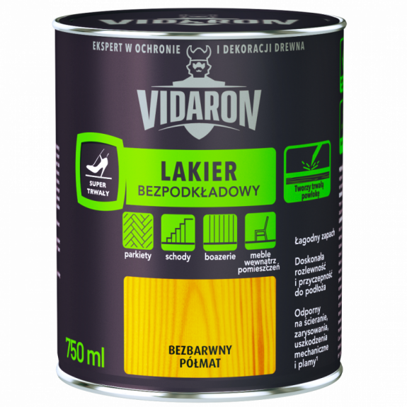 Vidaron Лак для паркету без грунтовки безбарвний глянець 0,75 л. Код УКТ ЗЕД 3209100000