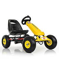 Карт M 3590AL-6 металл,педальный,ручной торм,рез колеса,цепн.передача,фонарик,кож.сид,желт