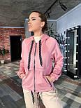 Замшевая женская кофта на молнии с капюшоном vN6913, фото 3