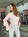 Женская блуза с рюшами на рукавах и вырезом каплей на груди vN6915, фото 2