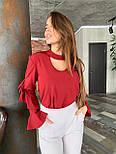 Женская блуза с рюшами на рукавах и вырезом каплей на груди vN6915, фото 3