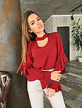 Женская блуза с рюшами на рукавах и вырезом каплей на груди vN6915, фото 4
