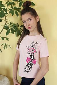 Футболка детская №F5202 для девочки (8-13 лет), хлопок с принтом