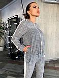 Женский брючный костюм в клетку с бомбером на молнии vN6947, фото 2