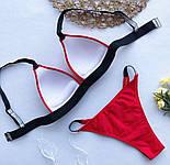 Женский раздельный красный купальник на бретелях из люрекса vN6952, фото 2