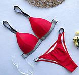 Женский раздельный красный купальник на бретелях из люрекса vN6952, фото 3