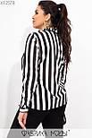 Полосатая женская рубашка в больших размерах из софта в вертикальную полоску vN6970, фото 5