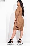 Замшевое платье в больших размерах балахон с завышенной талией vN6972, фото 4