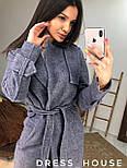 Женское пальто на запах из шерсти с поясом и отложным воротником vN6983, фото 3