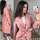 Женское пальто на запах из шерсти с поясом и отложным воротником vN6983, фото 4
