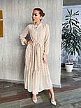Длинное принтованное платье из софта с оборкой и поясом vN6994, фото 2