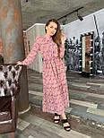Длинное принтованное платье из софта с оборкой и поясом vN6994, фото 3