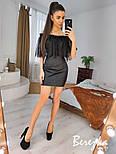 Черное кожаное платье с открытыми плечами и воланом из кружева реснички vN7001, фото 2