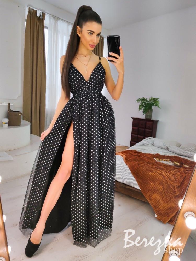Длинное пышное платье с блестками и верхом на запах без рукава vN7002