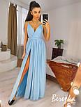 Длинное пышное платье с блестками и верхом на запах без рукава vN7002, фото 3
