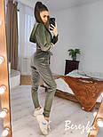 Женский бархатный спортивный костюм с зауженными штанами и укороченной кофтой vN7007, фото 3