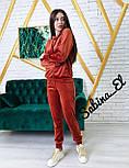Женский бархатный спортивный костюм с худи и зауженными штанами на манжетах vN7016, фото 5