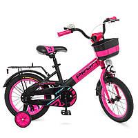 Детский двухколесный велосипед Profi Original W14115-7 черно-розовый матовый