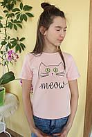 Футболка детская №F5203 для девочки (8-13 лет), хлопок с принтом 140
