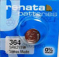 Батарейка для часов. Renata SR621SW (364) 1.55v 23mAh 6.8x2.1mm. Серебрянно-цинковая