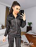 Кожаный женский комбинезон на молнии с резинкой на талии vN7026, фото 2