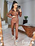 Кожаный женский комбинезон на молнии с резинкой на талии vN7026, фото 3