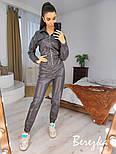Кожаный женский комбинезон на молнии с резинкой на талии vN7026, фото 4