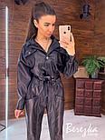 Кожаный женский брючный костюм с укороченным бомбером и длинным рукавом vN7032, фото 2