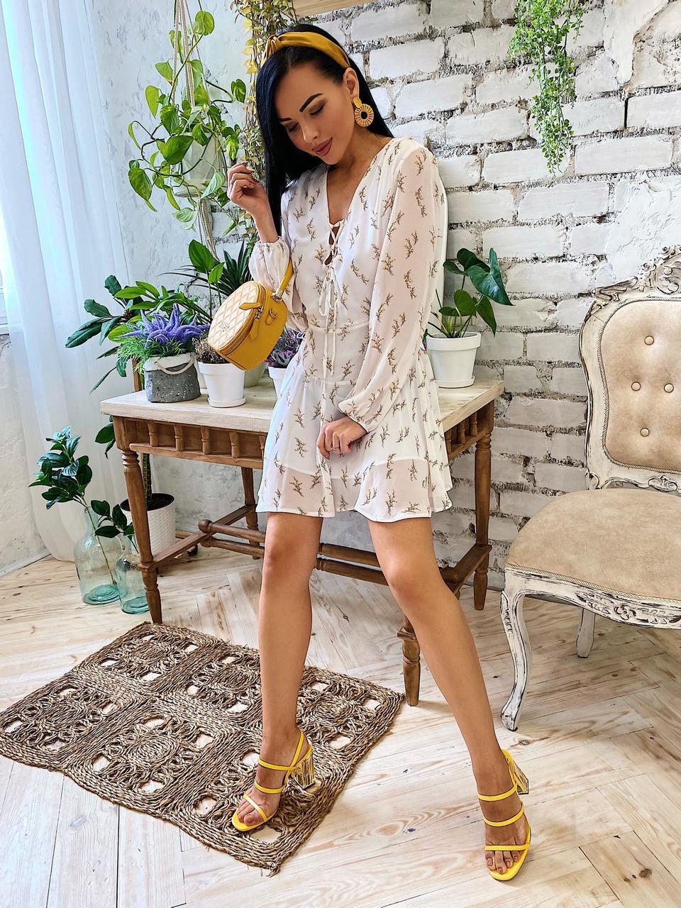 Шифоновое платье с расклешенной юбкой и длинным рукавом фонариком vN7063