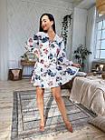 Шифоновое платье с расклешенной юбкой и длинным рукавом фонариком vN7063, фото 5